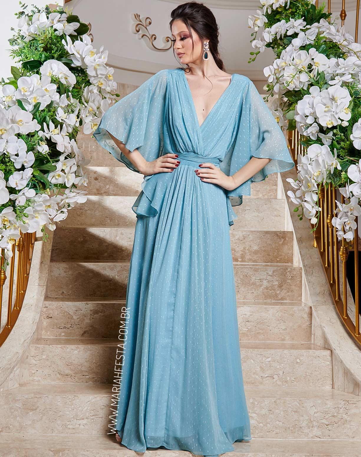 Vestido Voal Azul Serenity com Textura em Poá