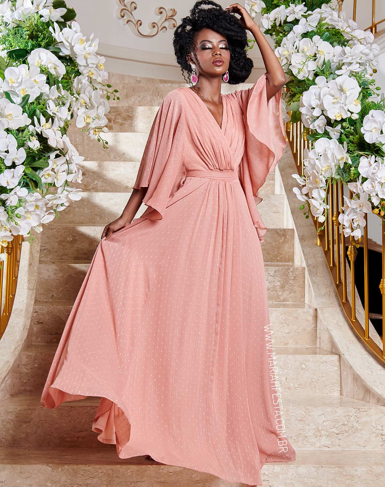 Vestido Voal Rosa Antigo com Textura em Poá