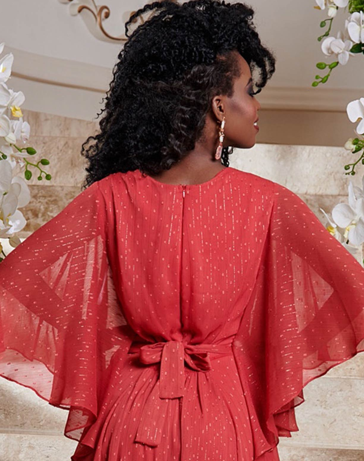 Vestido Voal Vermelho com Textura em Poá