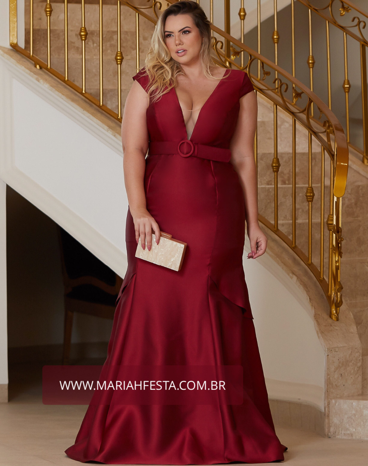 Vestido Marsala Sereia em Zibeline