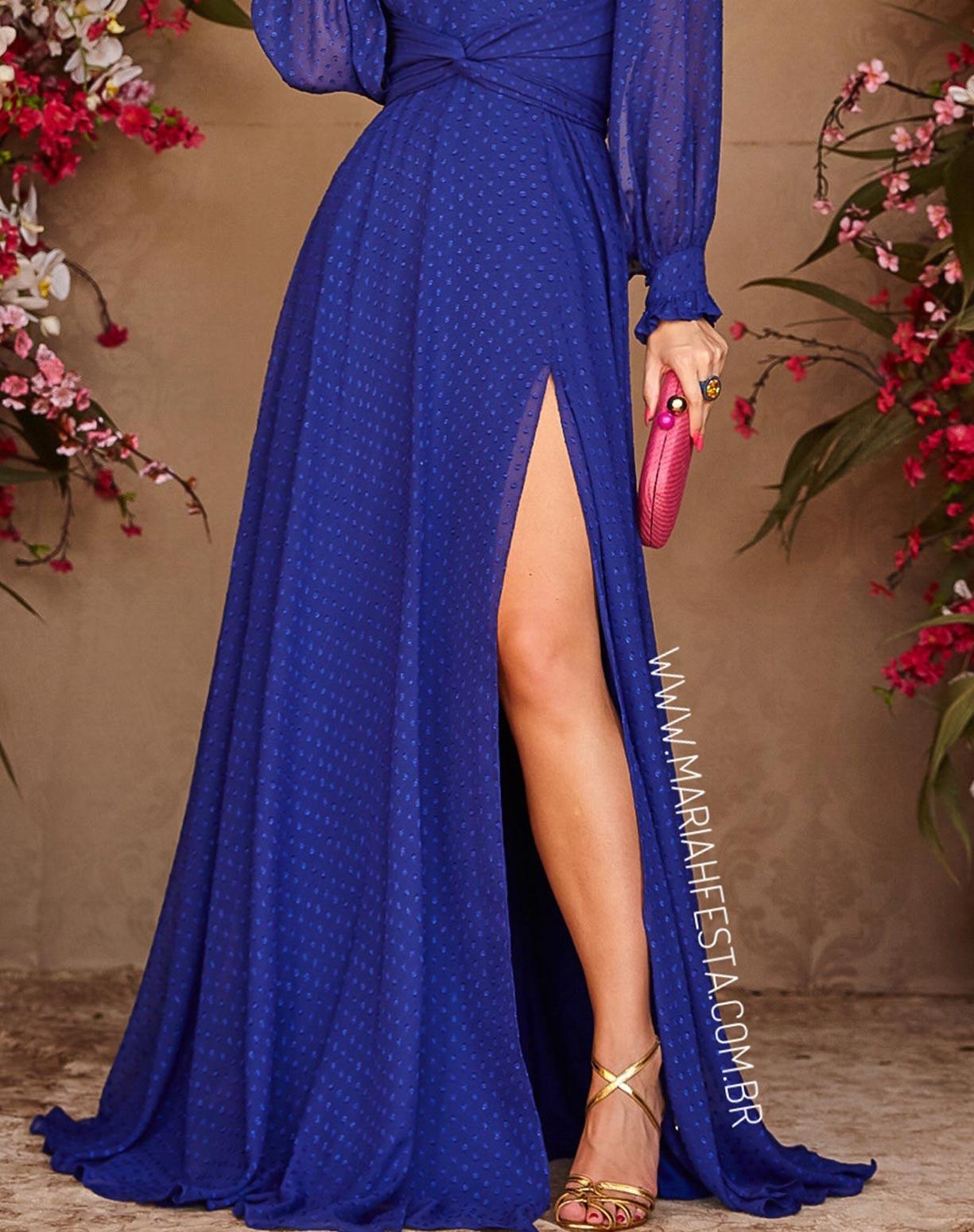 Vestido Azul Royal Manga Longa com Textura em Poá