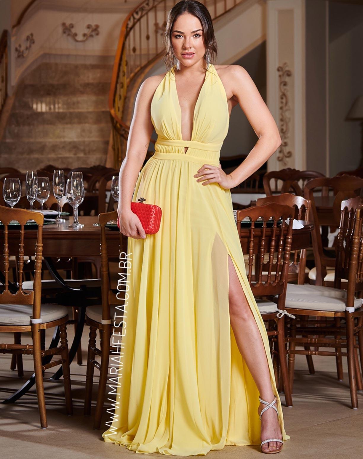 Vestido Amarelo com Fenda e Decotes