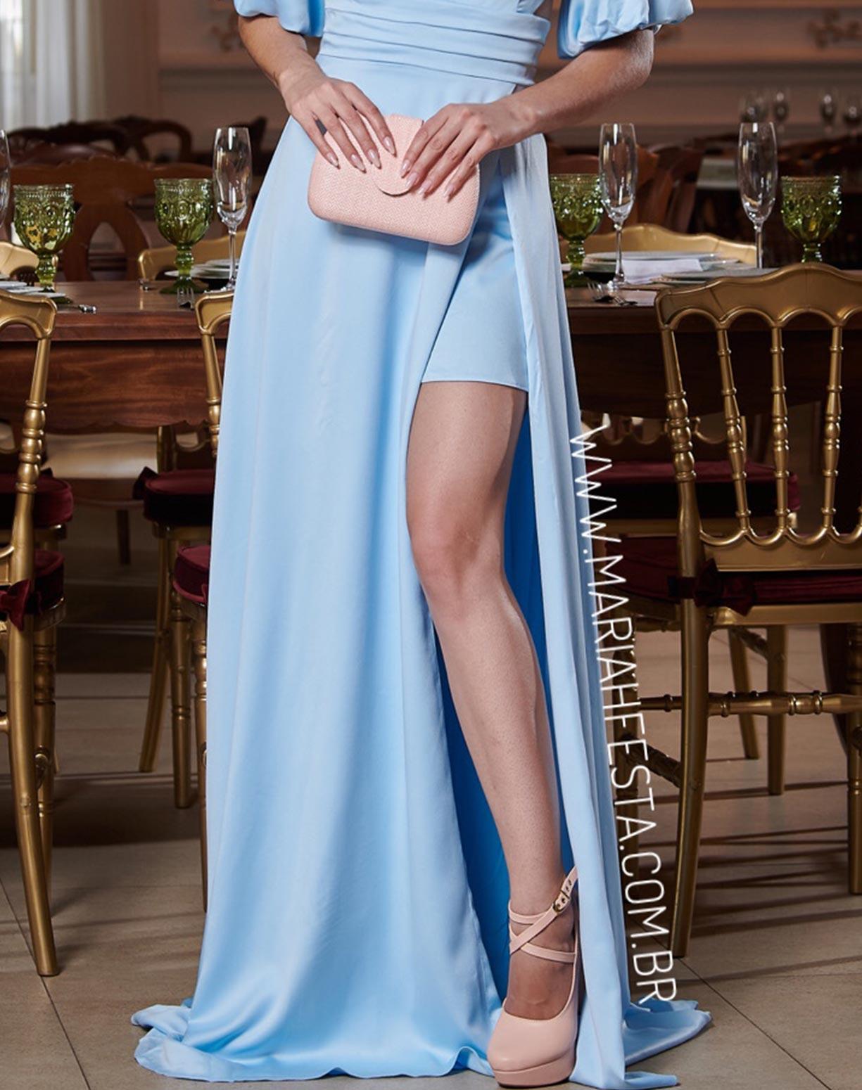 Vestido Azul Serenity com Manga Bufante e Decotes