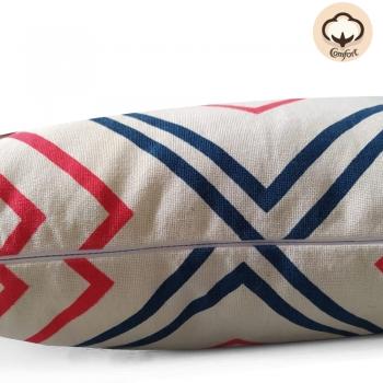 Almofada Algodão c/ Enchimento Retangular Estampada Arad 30x50cm Azul/Vermelho