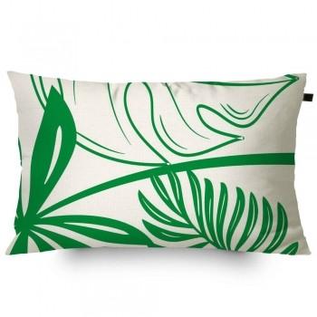 Almofada Algodão c/ Enchimento Retangular Estampada Folhas 30x50cm Verde