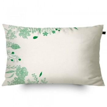 Almofada Algodão Retangular Estampada Tropical 30x50cm Verde
