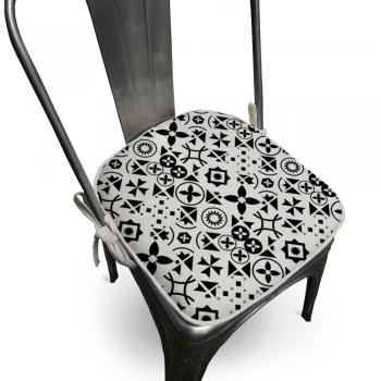 Almofada Assento Para Cadeira Algodão Ladrilhos 40x40cm