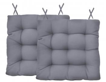 Almofada Assento Para Cadeira Futton Ox 40x40cm - Cinza 2Pçs