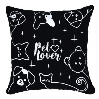Almofada c/ Enchimento Preta Pet Love  40x40cm - Serigrafada Frente e Verso