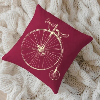 Almofada Lacre Serigrafada 50x50cm Bike Amarela c/ Enchimento