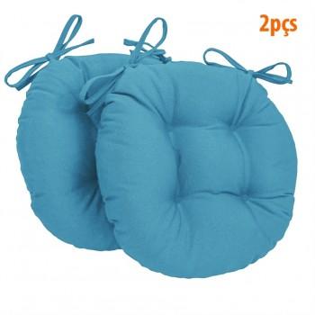 Almofada Para Assento Redondo Ø40cm - Azul 2 Peças