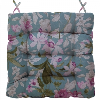 Almofada Para Cadeira Futton Wendy 40x40cm Azul Branco