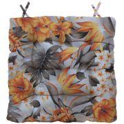 Almofada Para Cadeira Futton Wendy 40x40cm Floral Laranja