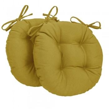 Almofada Para Cadeira Redondo Ø40cm - 2pçs Mostarda