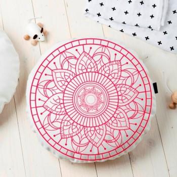Almofada Redonda Estampada Mandala 45x45cm Durga Vermelho