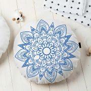 Almofada Redonda Estampada Mandala 45x45cm Indira Azul
