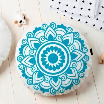 Almofada Redonda Estampada Mandala 45x45cm Obery Azul