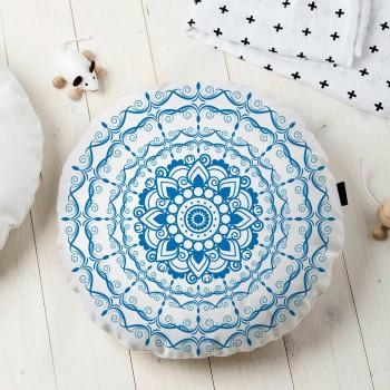 Almofada Redonda Estampada Mandala 45x45cm Provence Azul