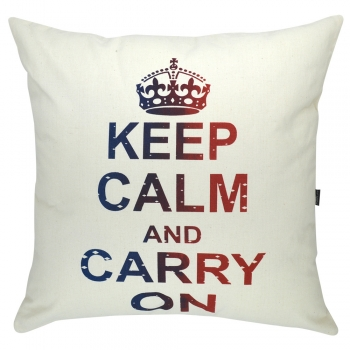 Almofada Serigrafada 50x50 cm Keep Calm and Carry On c/ Enchimento