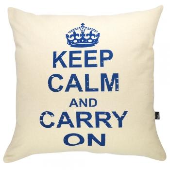 Almofada Serigrafada 50x50cm Keep Calm and Carry On c/ Enchimento
