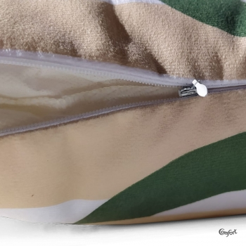 Almofada Veludo c/ Enchimento 40x40cm Persi Verde/Bege