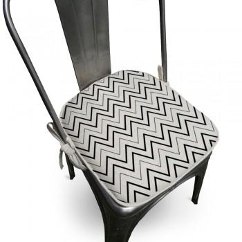 Assento Para Cadeira Algodão Missoni 40x40cm Preto