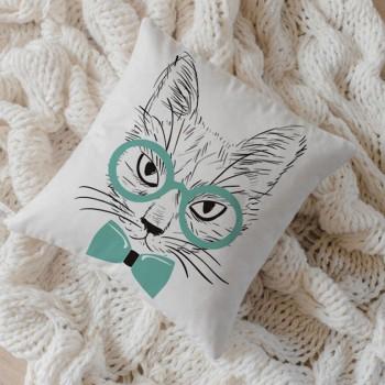 Capa de Almofada Algodão Gato de Óculos 40x40cm Tiffany