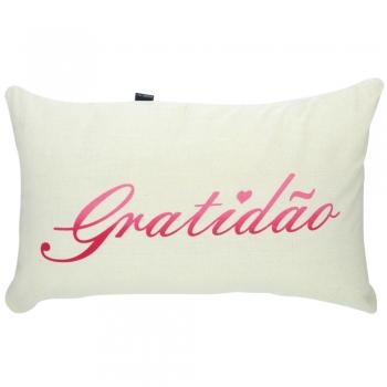 Capa de Almofada Algodão Retangular Serigrafada 30x50cm Gratidão Rosa