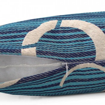 Capa de Almofada Jacquard Tripolli Asteca 40x40cm Azul