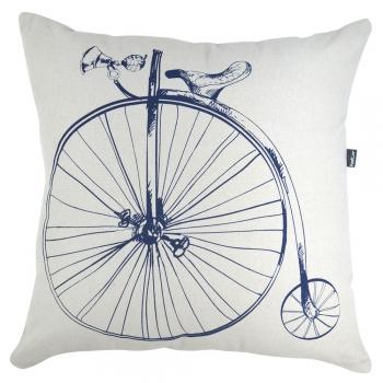 Capa de Almofada Serigrafada 50x50cm Bike Azul