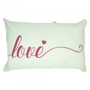 Capa de Almofada Love Retangular Estampada 30x50cm Rosa