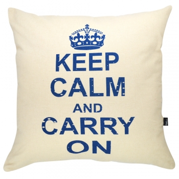 Capa de Almofada Serigrafada 50x50cm Keep Calm and Carry On