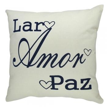 Capa de Almofada Serigrafada 50x50cm Lar - Amor - Paz