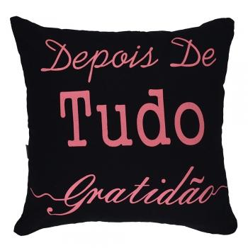 Capa de Almofada Serigrafada Preta 2 - Frente e Verso 40x40cm - Fé e Gratidão