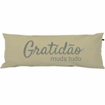 Capa Para Travesseiro De Corpo Body Pillow 40x130cm Gratidão Cinza