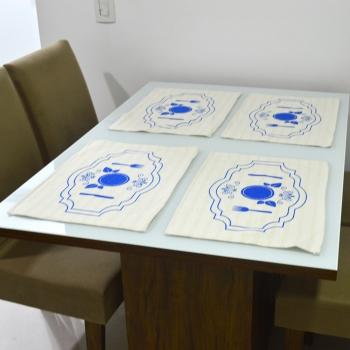 Jogo americano Estampa Azul Desenho Talheres 33x49cm 4 Peças - Emborrachado