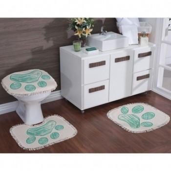 Jogo De Banheiro Algodão Estampado Patas 03 Peças - Tiffany