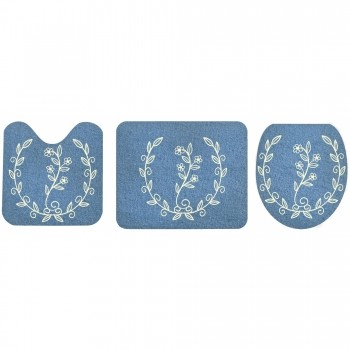 Jogo De Banheiro Azul Ramos Marfim  03 Peças - Antiderrapante