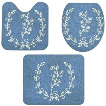 Jogo De Banheiro Azul Flores  03 Peças - Antiderrapante