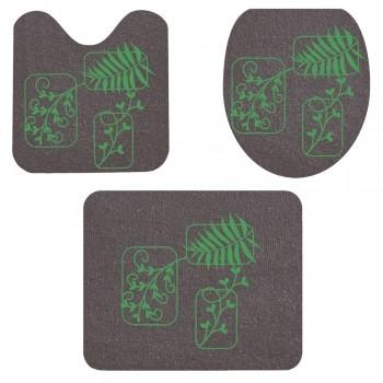 Jogo De Banheiro Chumbo Folhas Verde  03 Peças - Antiderrapante