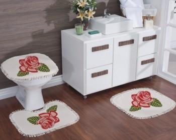 Jogo de Banheiro Natural Estampado Rosas 3Pçs Lacre
