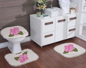 Jogo de Banheiro Natural Estampado Rosas 3Pçs Rosa