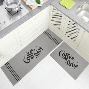 Jogo Tapete Cozinha Areia Algodão Antiderrapante 3 Peças Coffee