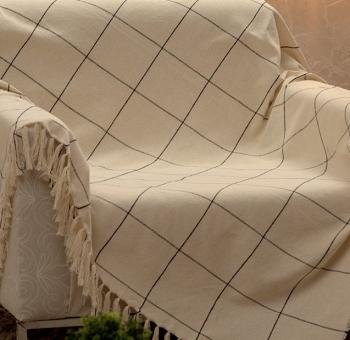 Manta Para Sofá Grid Off White/Preto