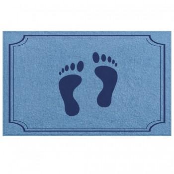 Tapete de Piso Banheiro Azul 45x65cm Pés 01 - Antiderrapante