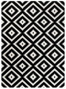 Tapete Geométrico Atenas 135x200cm Preto/Branco - Antiderrapante