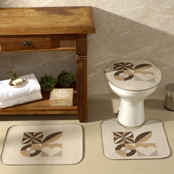 Tapete Jogo De Banheiro Areia Antiderrapante Kit 3 Peças Geométricos