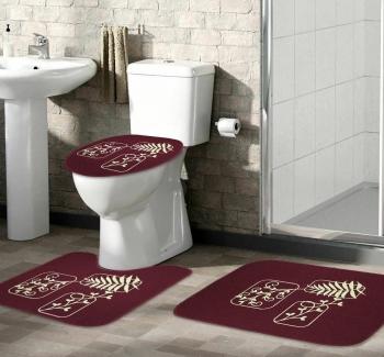 Tapete Jogo De Banheiro Bordo Antiderrapante Kit 3 Peças Folhas Marfim