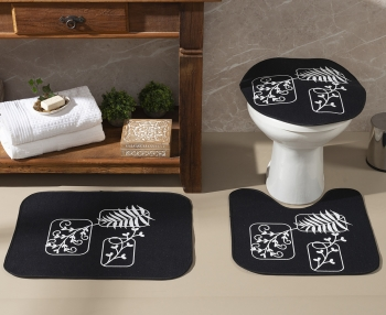 Tapete Jogo De Banheiro Preto Antiderrapante Kit 3 Peças Folhas Branca