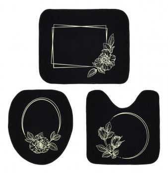 Tapete Jogo De Banheiro Preto Antiderrapante Kit 3 Peças Rosas Marfim